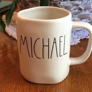 Rae Dunn coffee mug says Michael